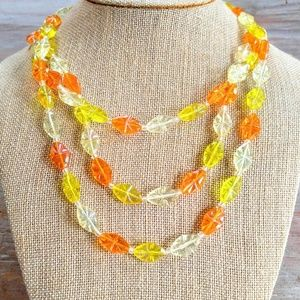 VINTAGE Orange,Yellow,Clear Triple Strand Necklace